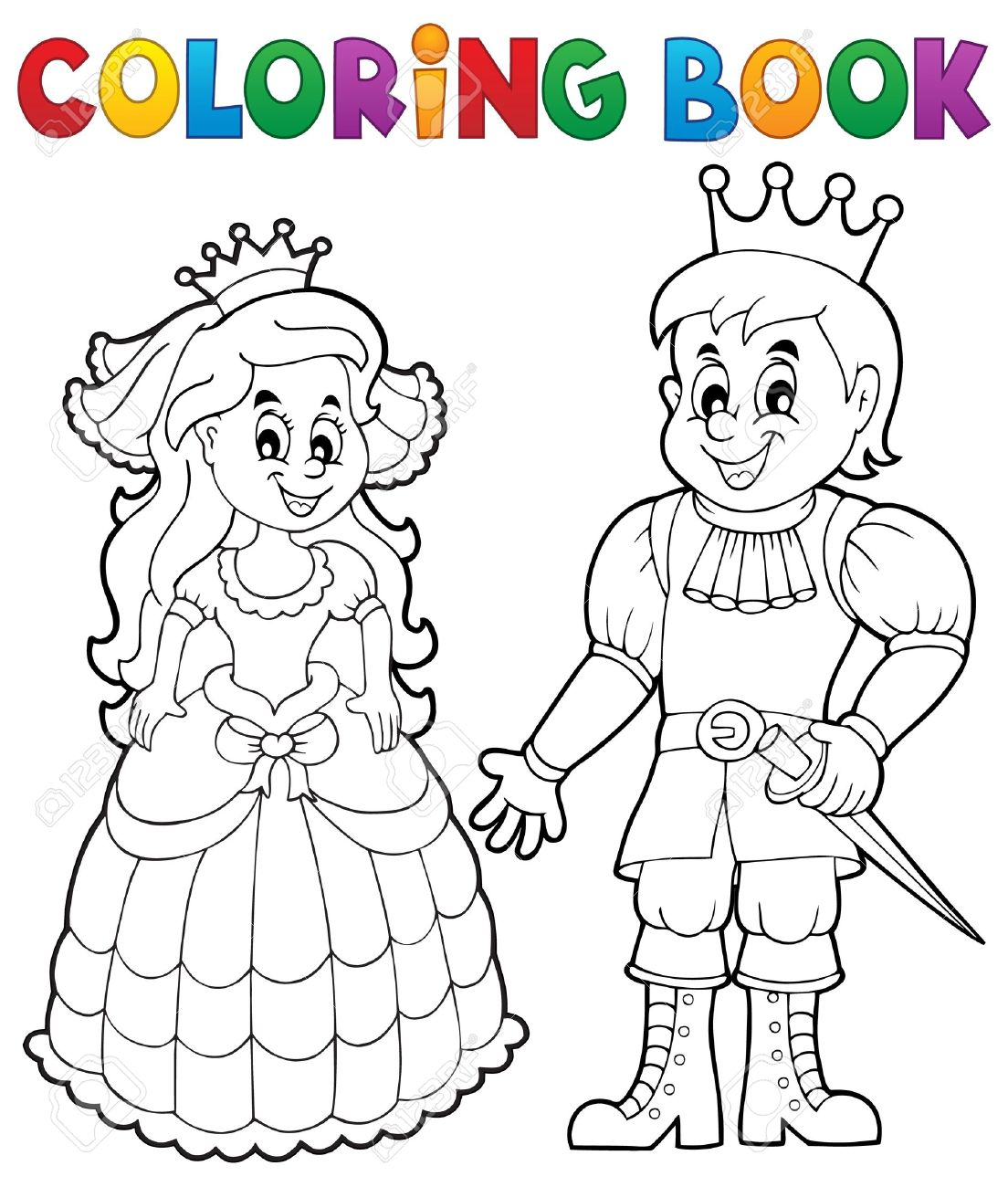 Coloring Book Princess And Prince Royalty Free Cliparts Vectors And Stock Illustration Image 54948538