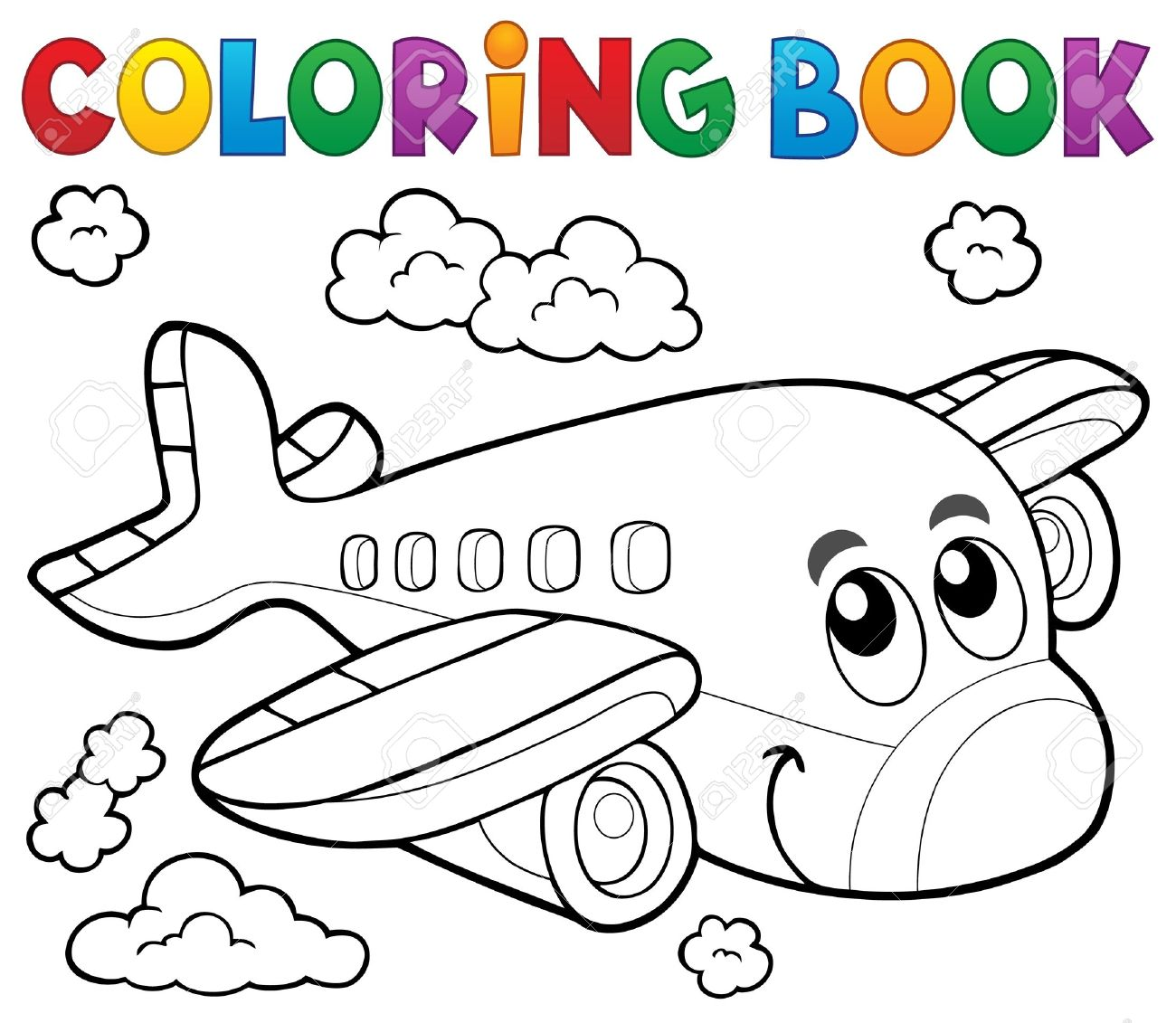 Coloring Book Airplane Theme Royalty Free Cliparts, Vectors, And ...