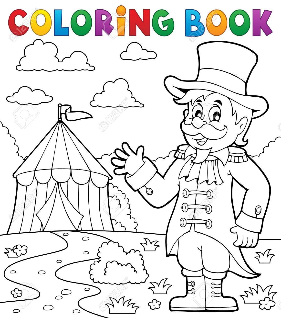 Coloring book circus ringmaster theme