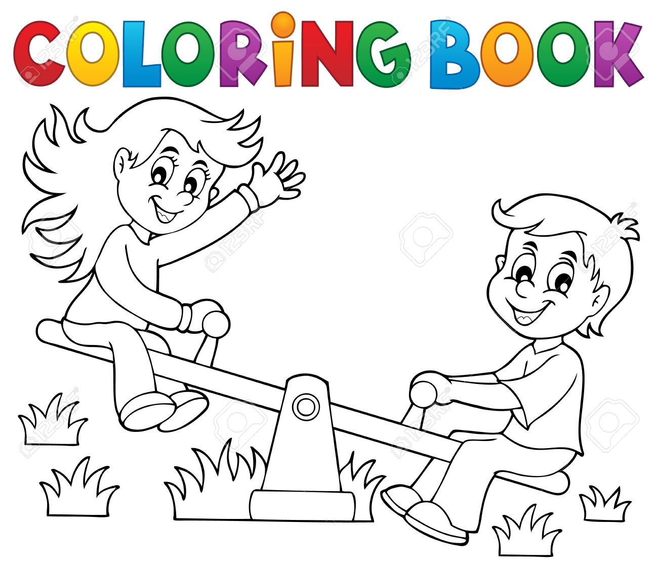 Coloring Book Children On Seesaw Theme Stock Vector
