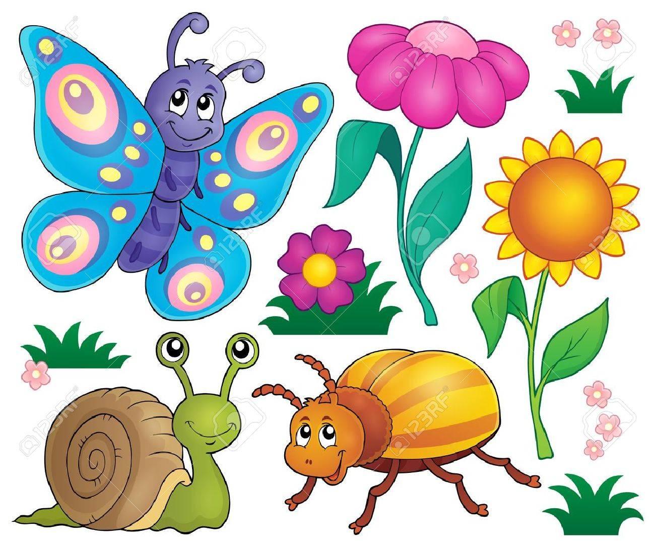 春の動物や昆虫はベクトル イラストです。 ロイヤリティフリークリップ