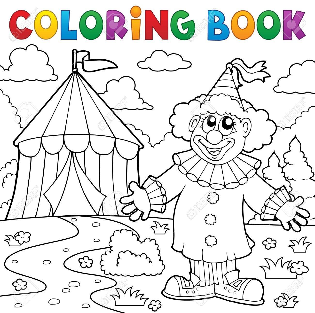 Coloring book clown near circus vector illustration.