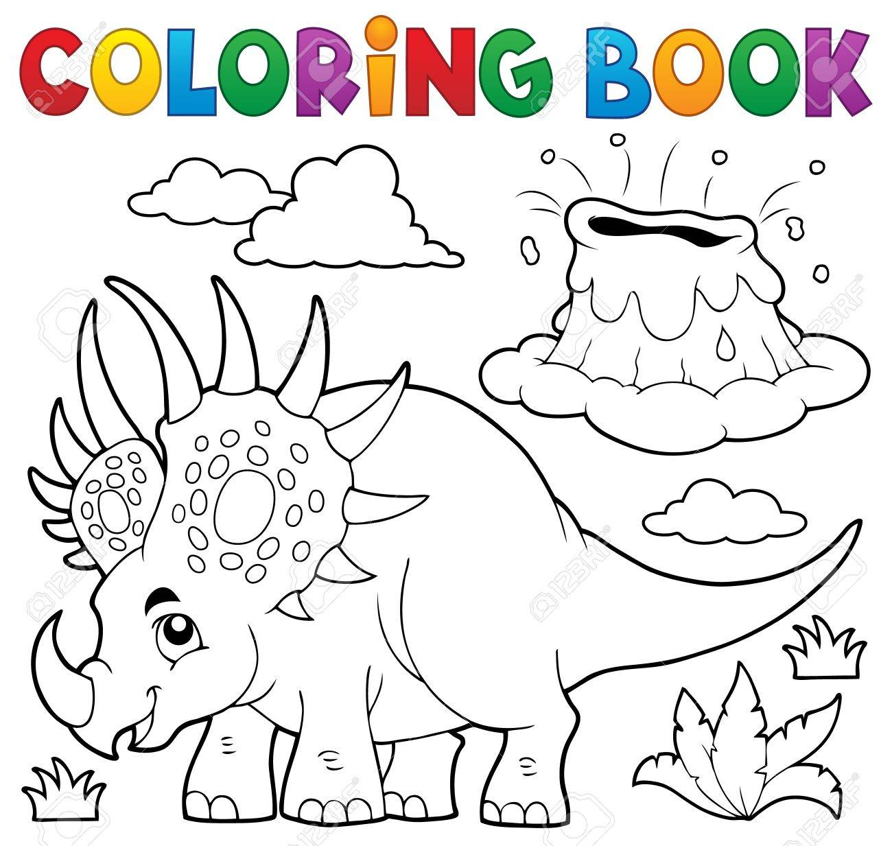 Coloring Book Dinosaur Topic Stock Vector