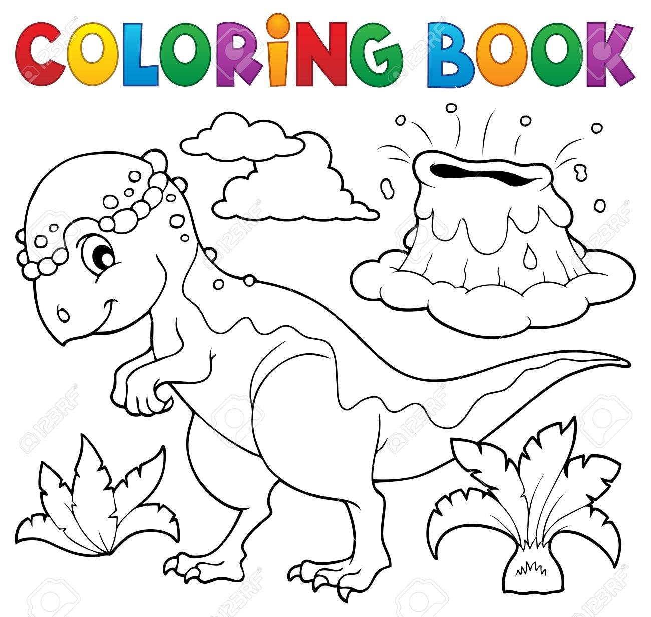 Coloring Book Dinosaur Topic Stock Vector