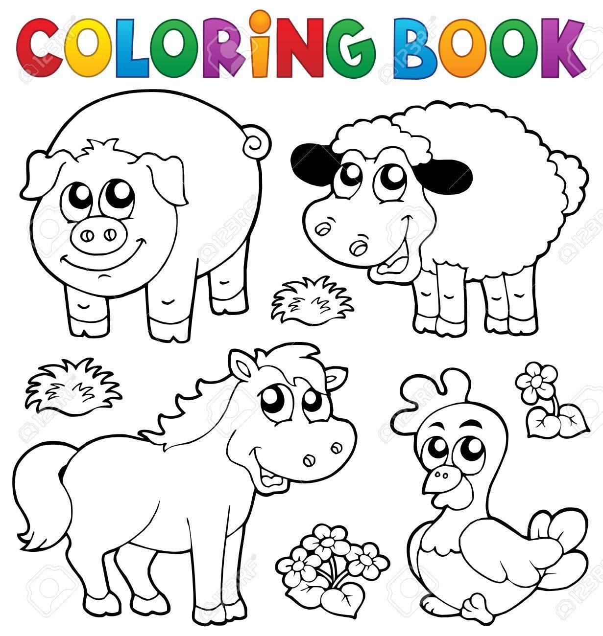 Libro Para Colorear Con Animales De Granja 5 - Ilustración Vectorial ...