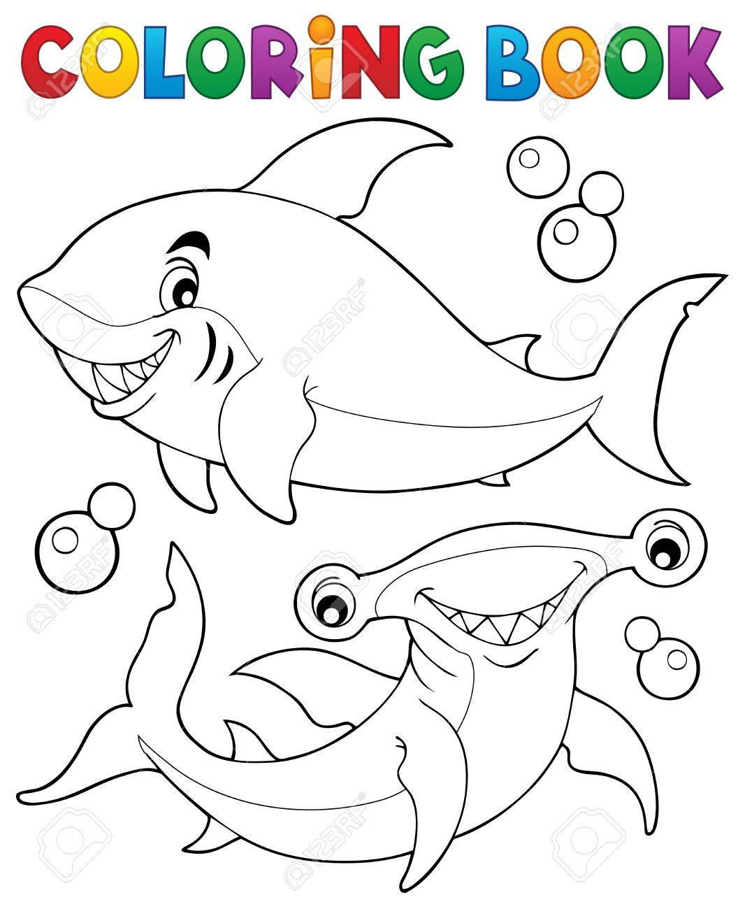 Libro Para Colorear Con Dos Tiburones - Ilustración Vectorial ...