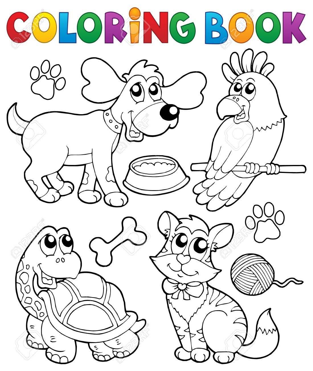 Livre à Colorier Avec Animaux De Compagnie 3 Illustration Vectorielle