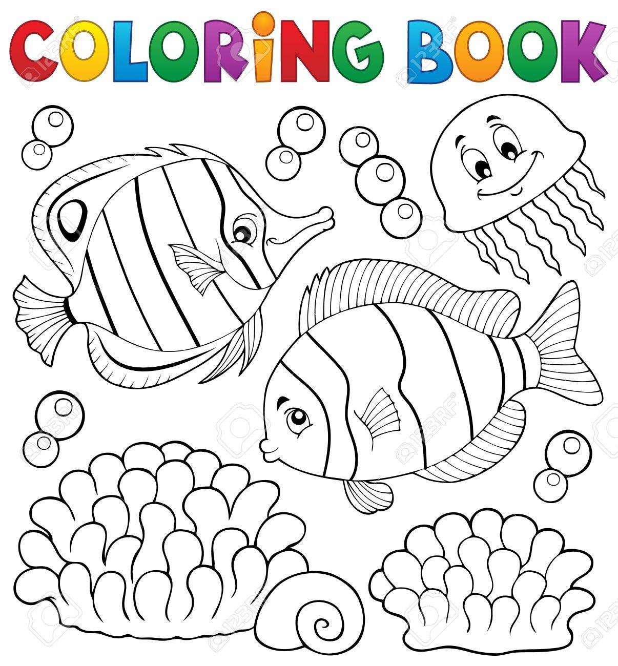 Coloring Book Coral Fish Theme 2 - Vector Illustration. Royalty Free ...