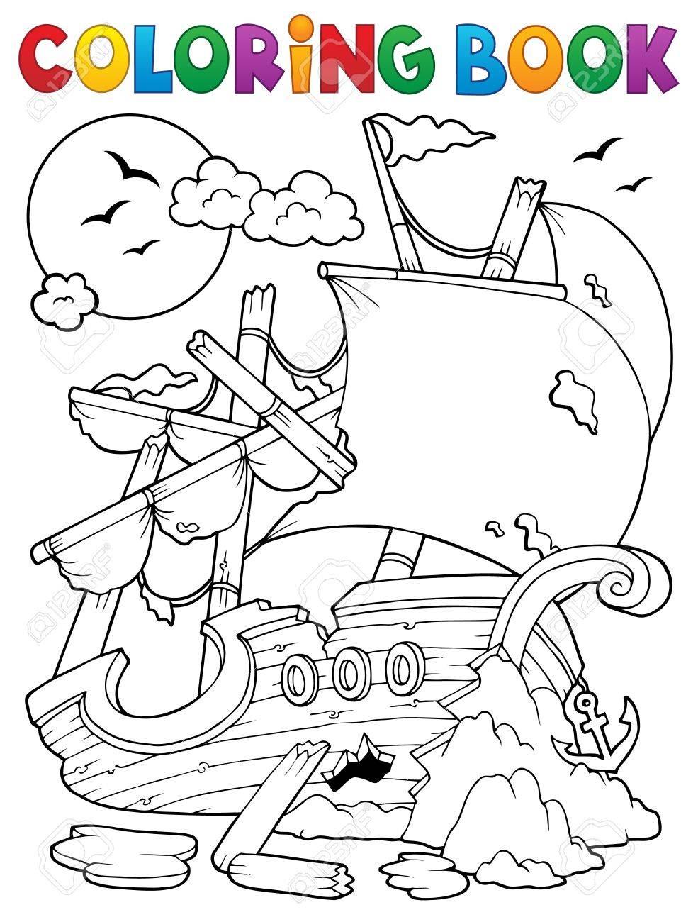 Libro Para Colorear Con Naufragio Rocas - Ilustración Vectorial ...
