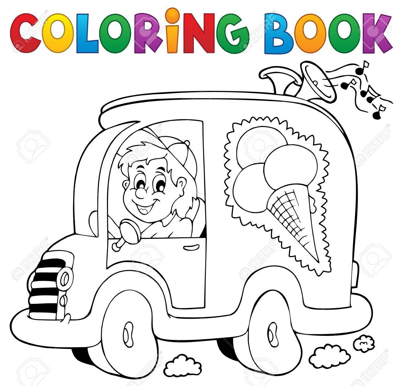 Libro Para Colorear Hombre De Los Helados En El Coche - Ilustración ...