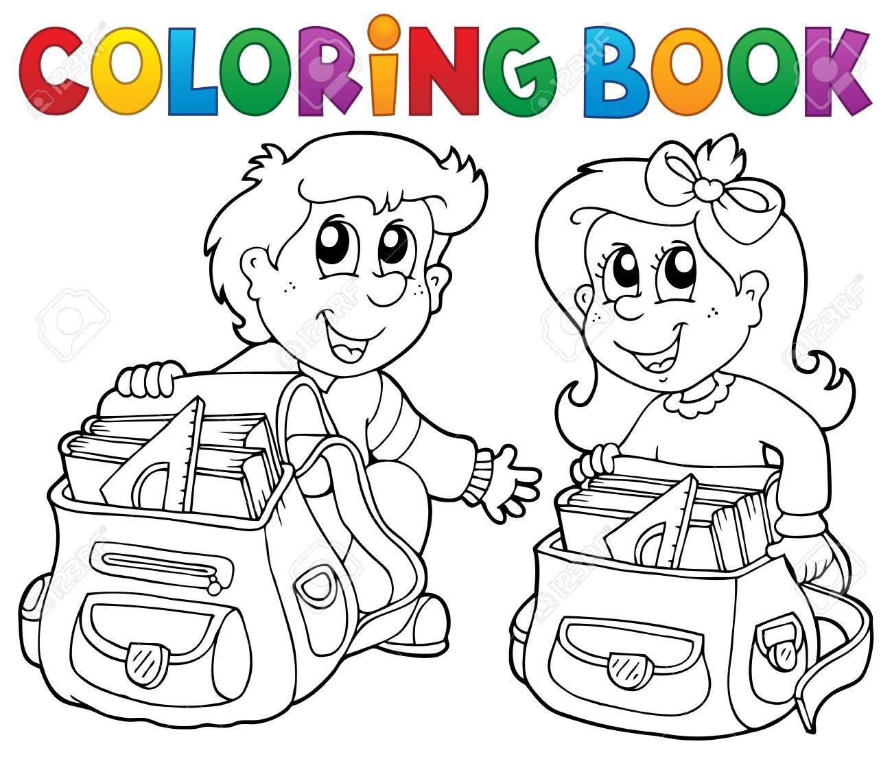 Vettoriale Da Colorare Per Bambini Libro Di Scuola Tema 3