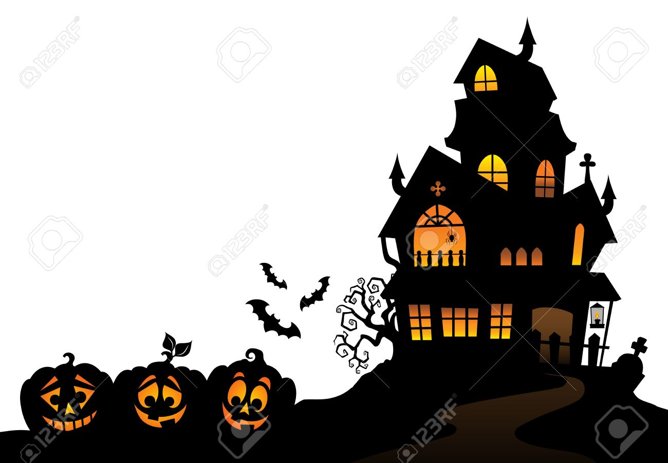 Haunted House Silhouette Stock Vector