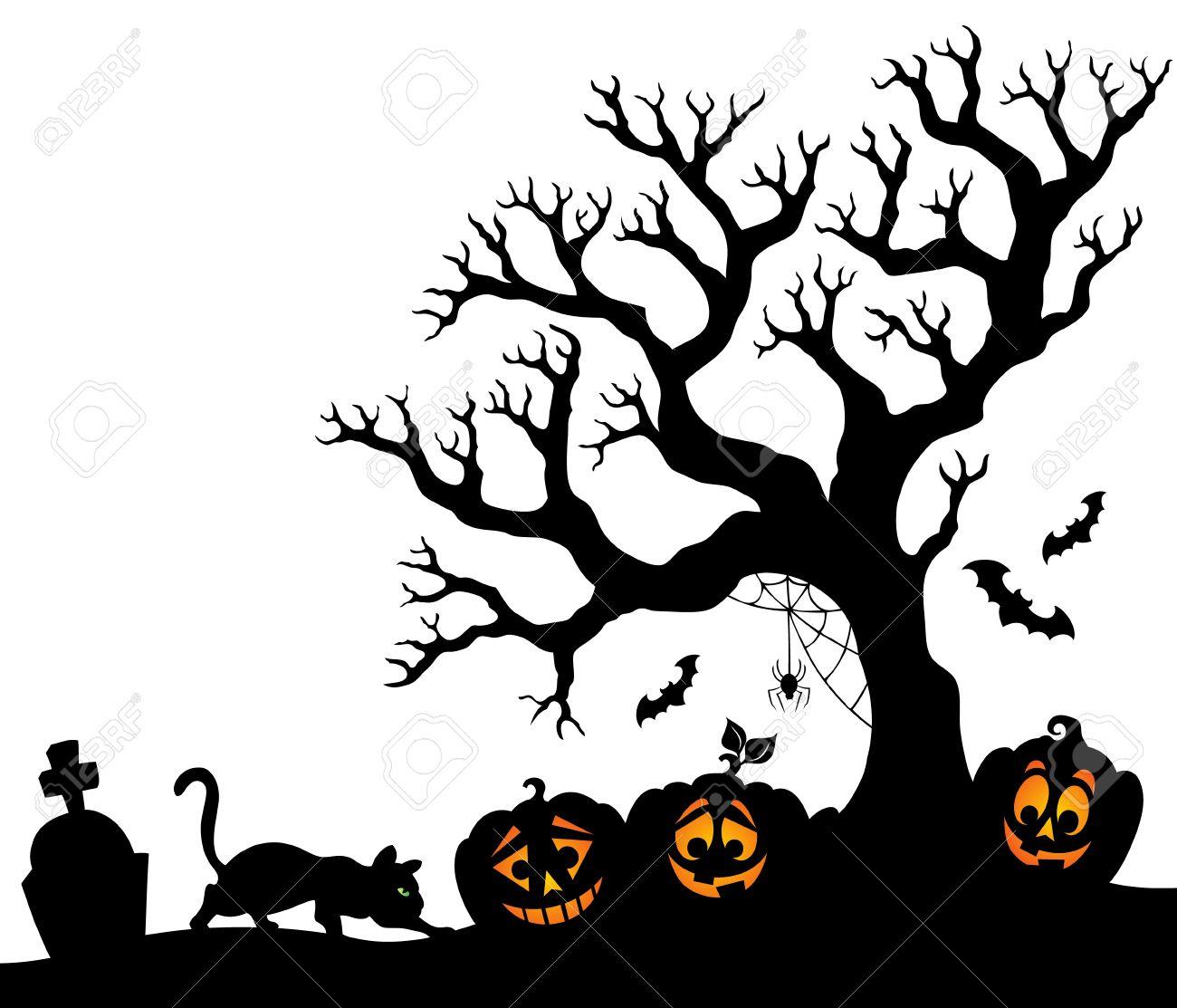halloween tree silhouette royalty free cliparts vectors and stock rh 123rf com Halloween Pumpkin Clip Art Halloween Owl Clip Art