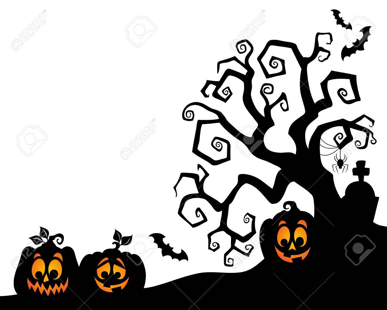 halloween tree silhouette stock vector 61009476