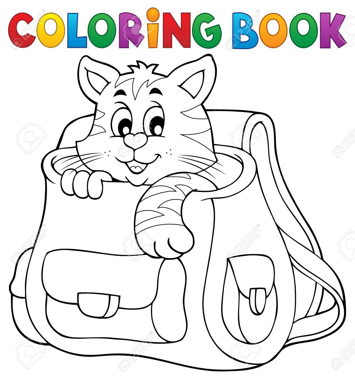 Coloring Book Cat In Schoolbag Royalty Free Cliparts, Vectors, And ...