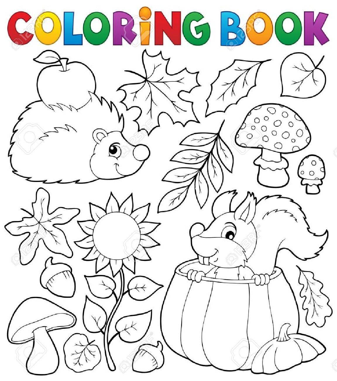 El Tema De La Naturaleza Del Otoño De Libro Para Colorear ...