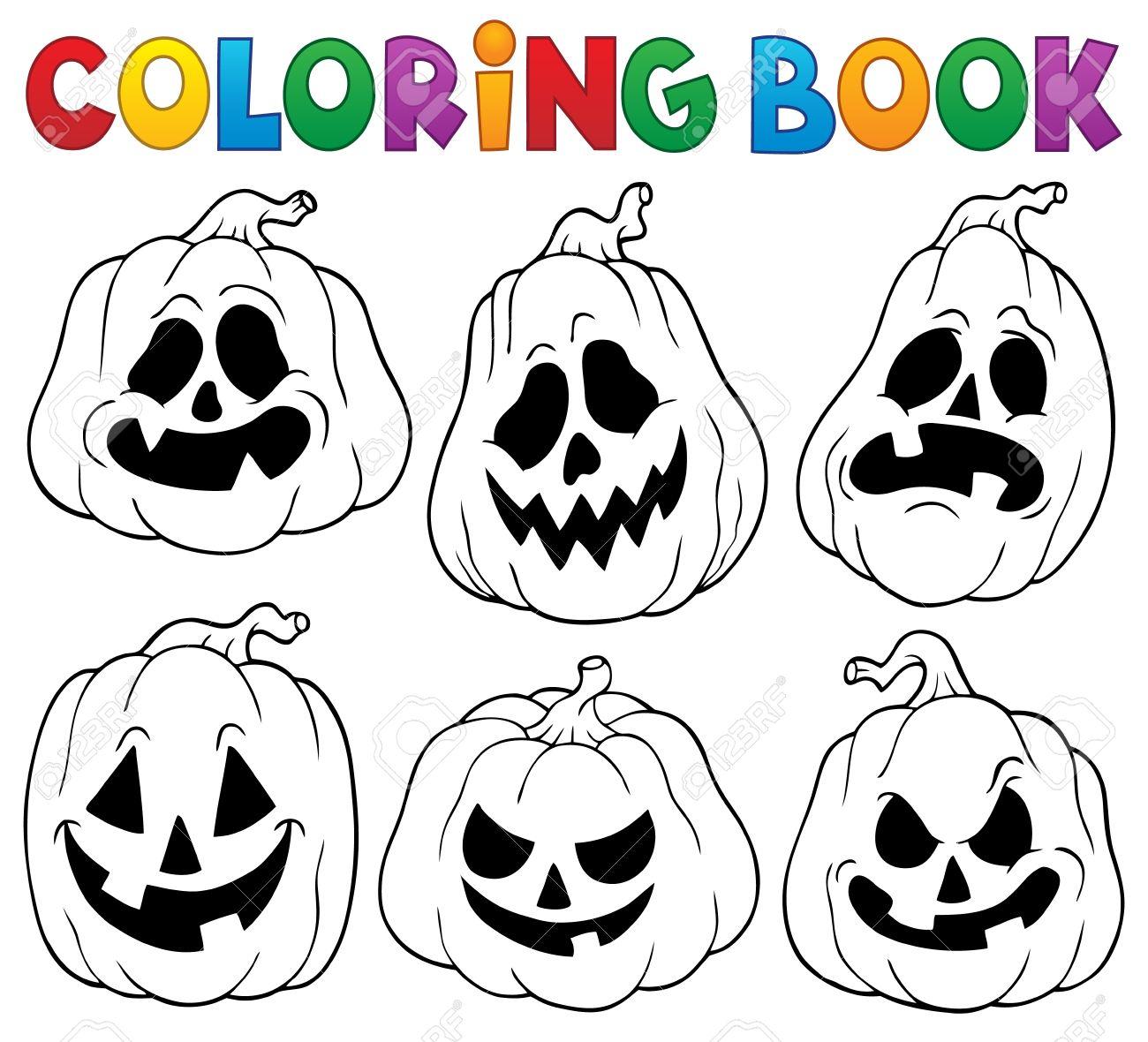 Coloring Book With Halloween Pumpkins Stock Vector