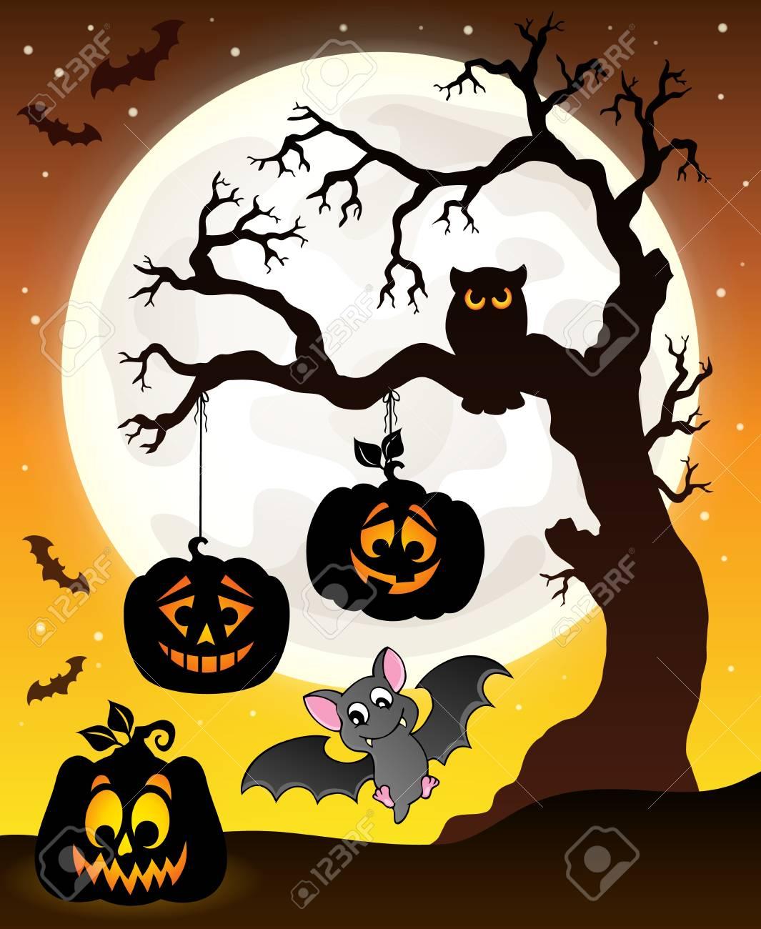 halloween tree silhouette theme stock vector 63860711