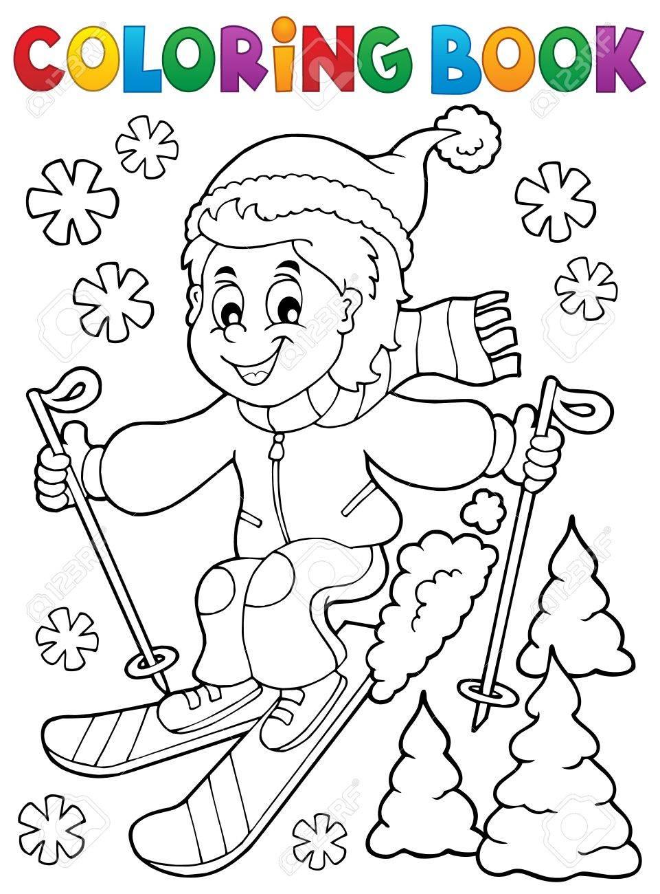 Coloriage Garçon De Ski