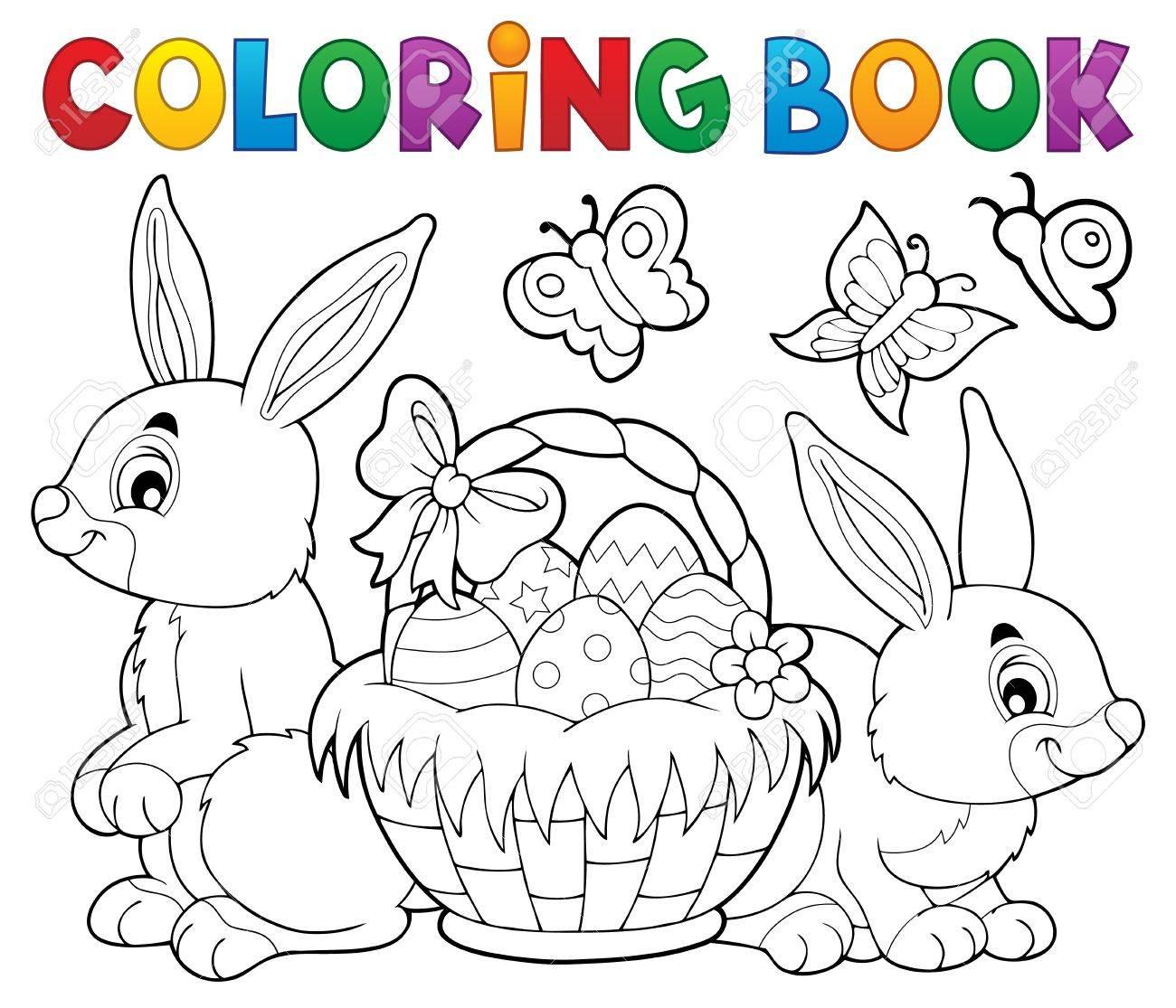 Dibujo Para Colorear Pascua Cesta Y Conejos - Eps10 Ilustración ...