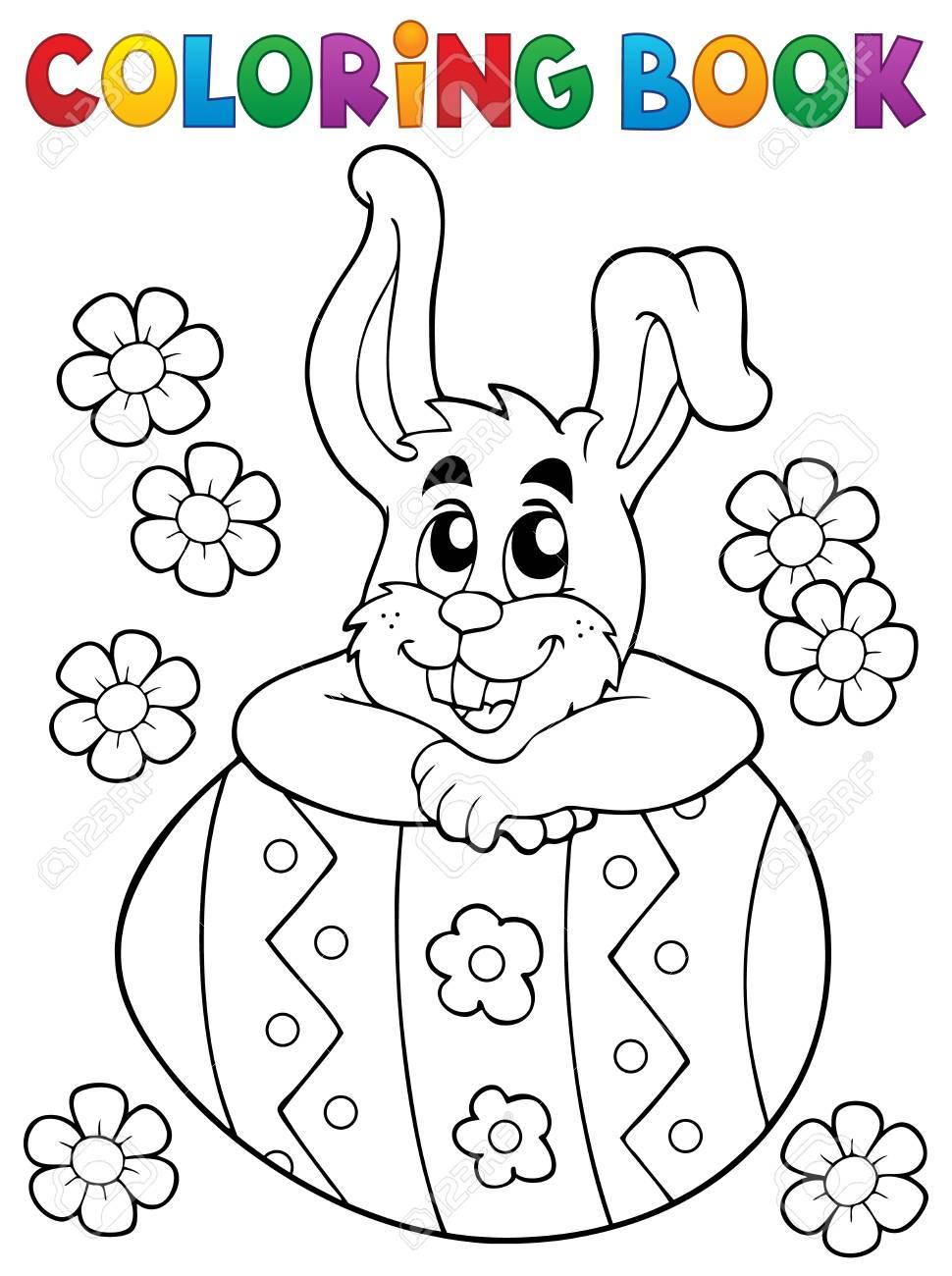 Livre De Coloriage Theme De Lapin De Paques 4 Eps10 Illustration Vectorielle Clip Art Libres De Droits Vecteurs Et Illustration Image 69774558