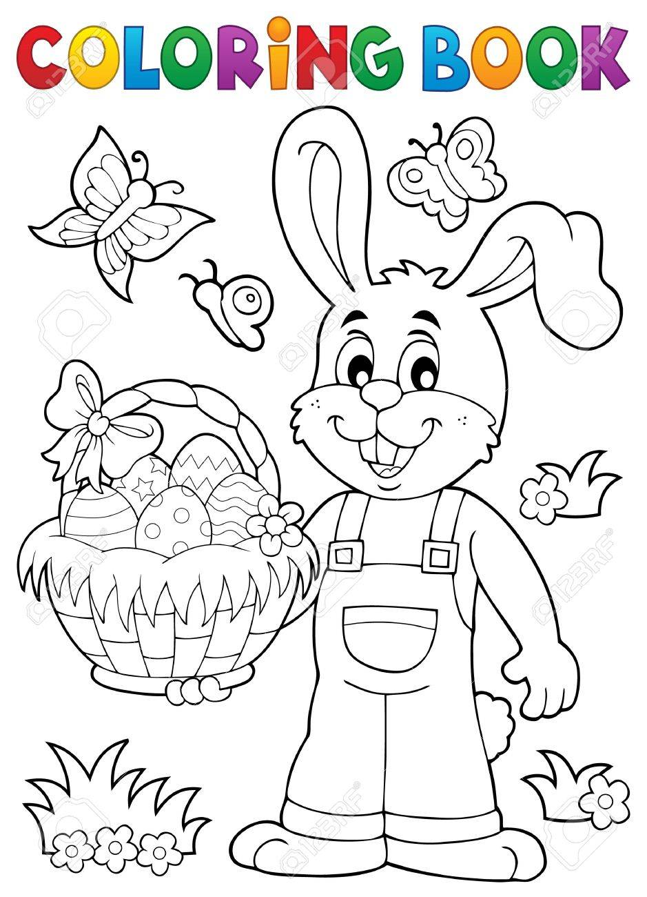 Libro Para Colorear Conejo De Pascua Tema 7 - Ilustración Vectorial ...