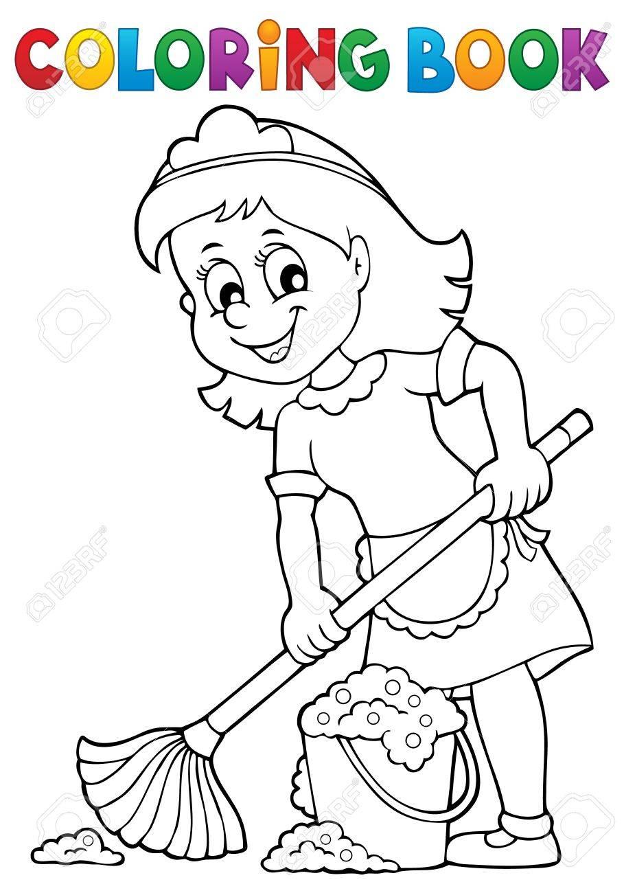 Dibujo Para Colorear Dama De Limpieza 2 Eps10 Ilustración