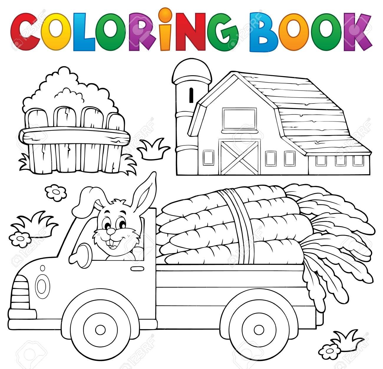 Libro Para Colorear Camión De La Granja Con Las Zanahorias Ilustración Vectorial Eps10