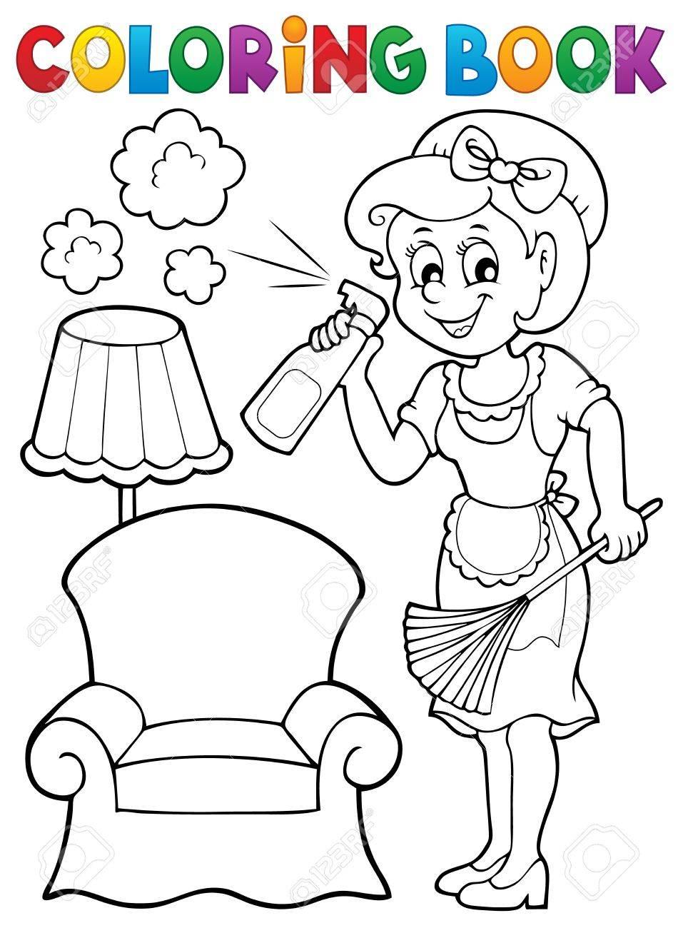 Libro Para Colorear Con Ama De Casa 2 Eps10 Ilustracion Vectorial