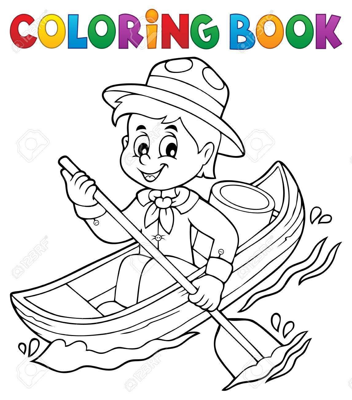 Dibujo Para Colorear Water Scout Boy Tema 1 - Eps10 Ilustración ...