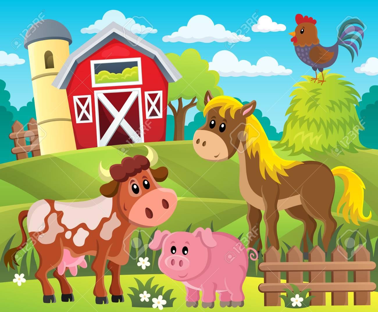 Farmland with animals theme 1 - eps10 vector illustration. - 74631169