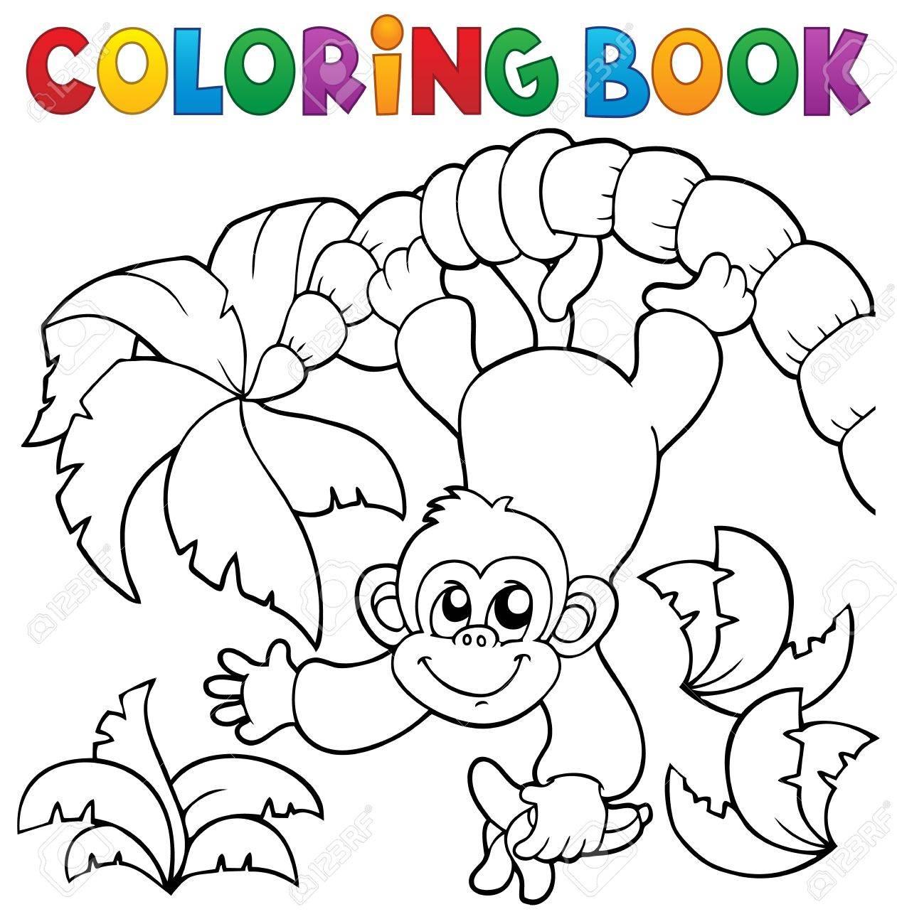 Libro Para Colorear Mono Tema 2 - Eps10 Ilustración Vectorial ...