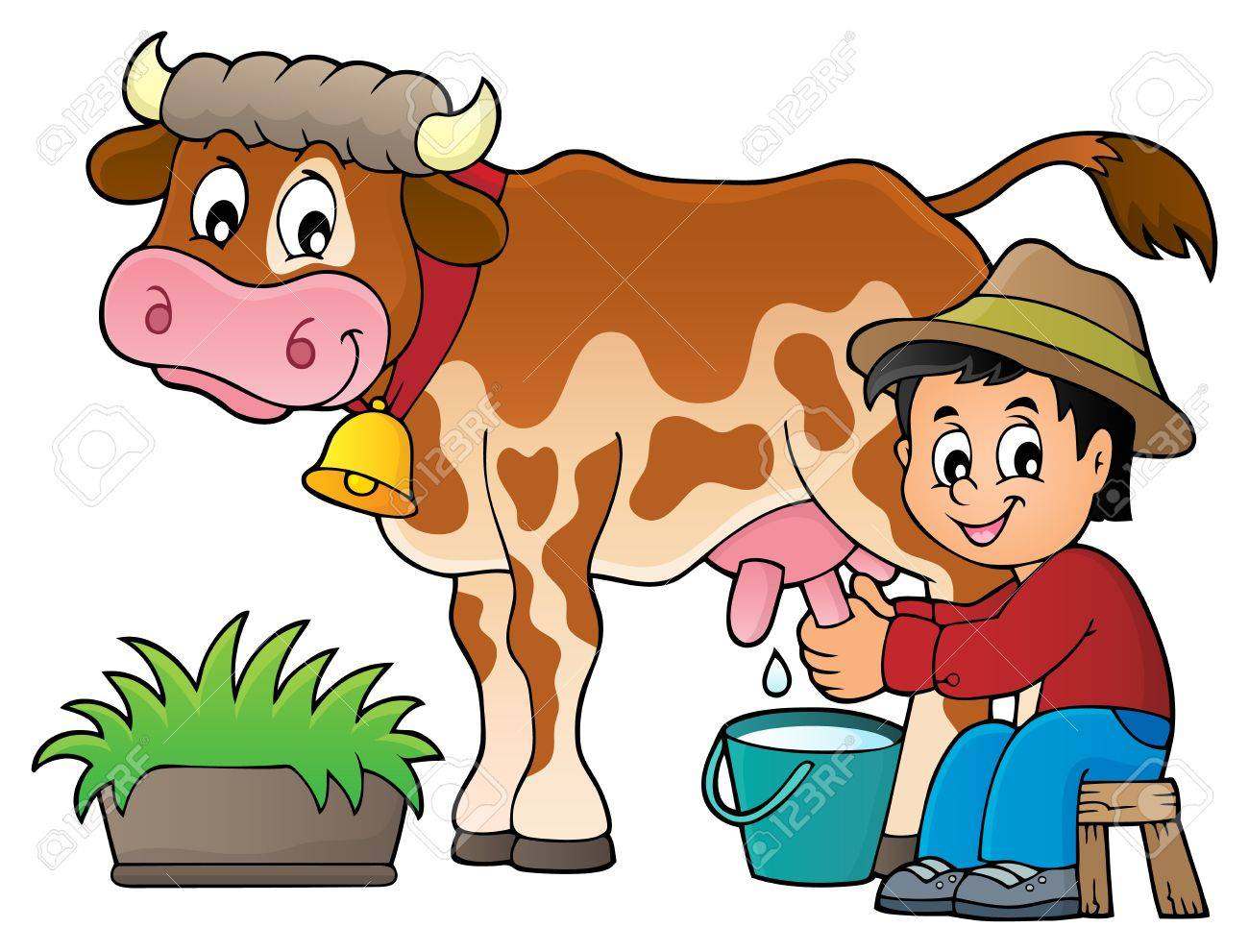 farmer milking cow image 1 eps10 vector illustration royalty free rh 123rf com dairy cattle clipart dairy cattle clipart