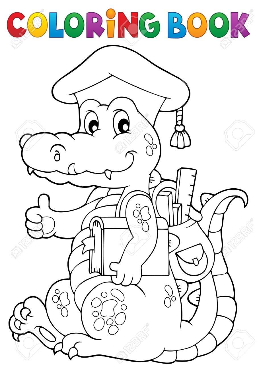Coloriage Theme Ecole.Coloriage Livre Ecole Theme Crocodile Illustration Vectorielle