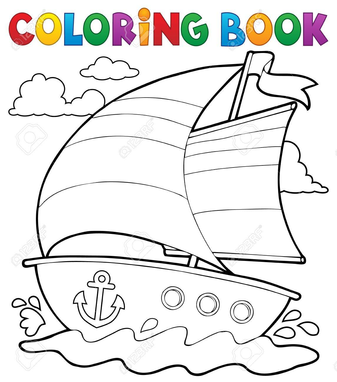 Libro Para Colorear Barco Náutico 1 Eps10 Ilustración Vectorial