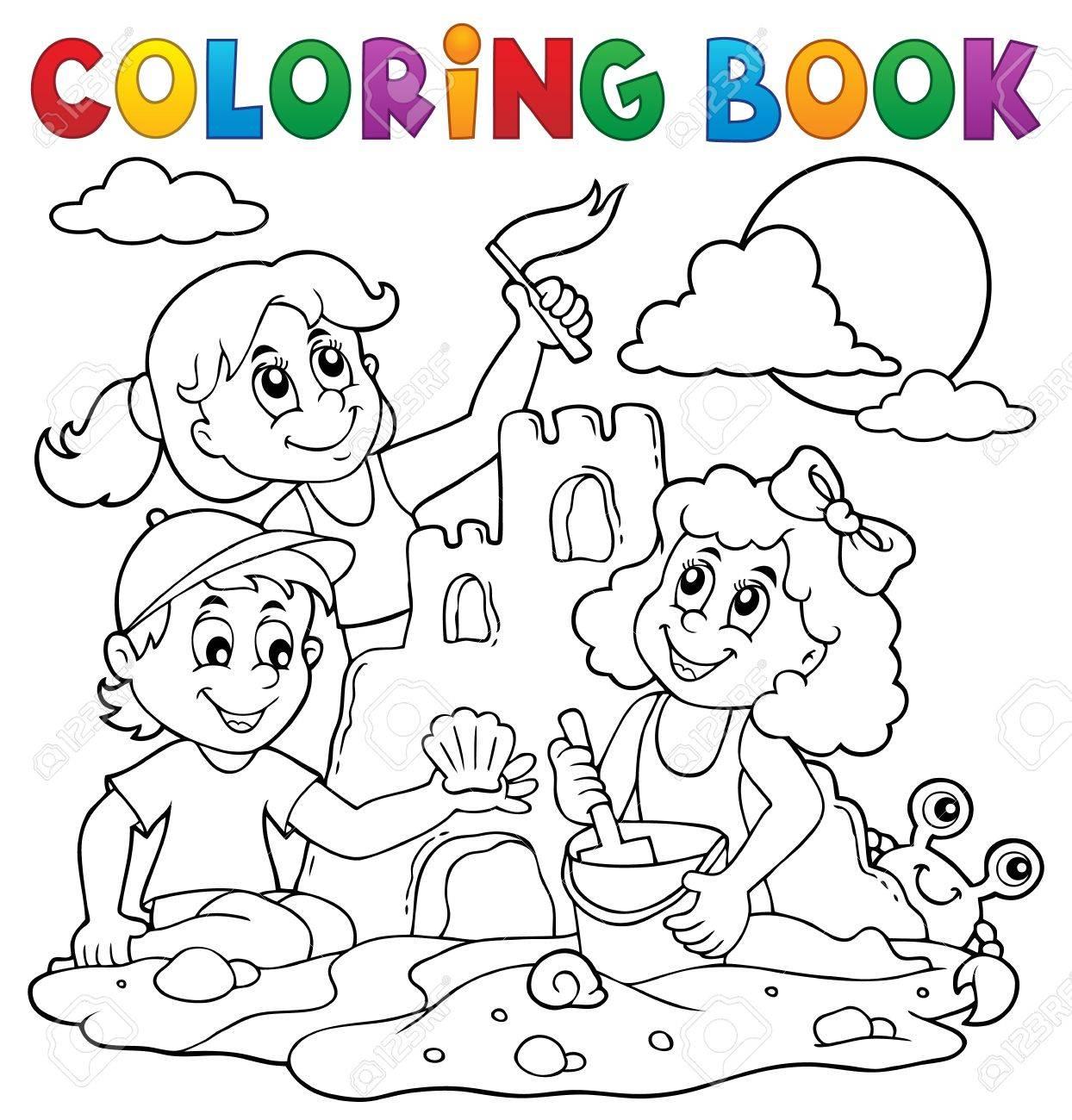 Libros Para Colorear Niños Y Castillo De Arena