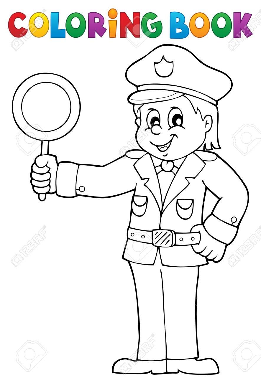 Coloring Book Policía Tiene Señal De Stop - Eps10 Ilustración ...