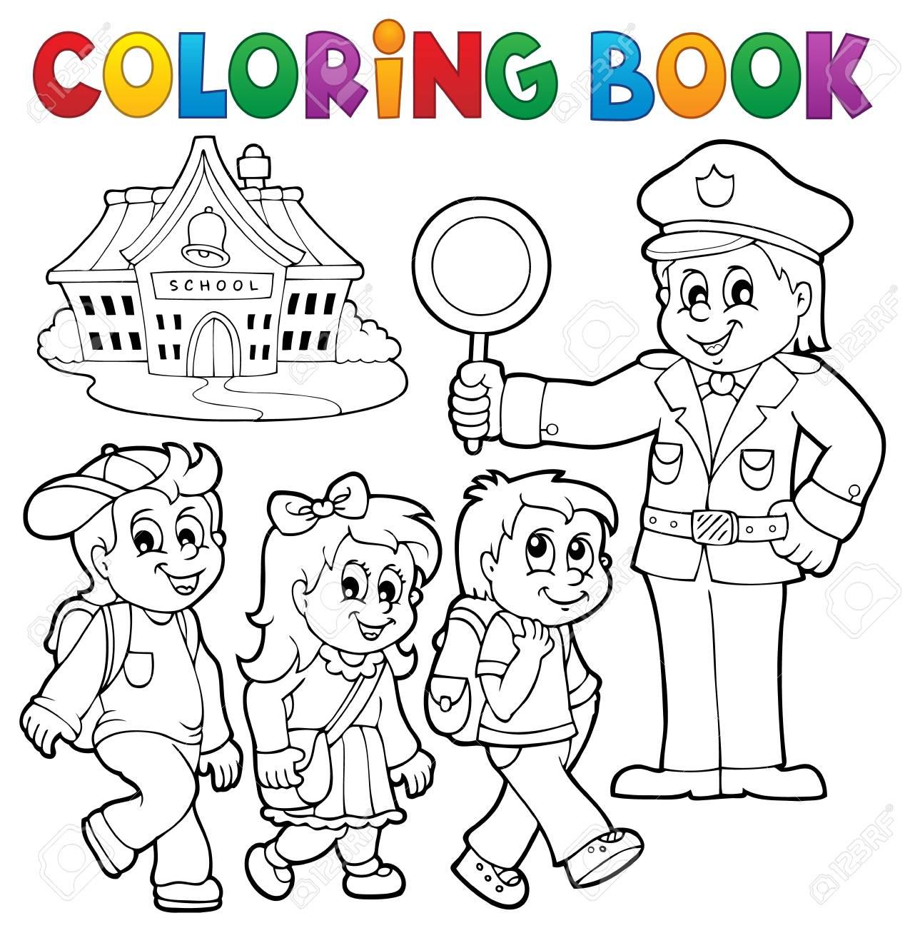 Libros Para Colorear Alumnos Y Policías. Ilustraciones Vectoriales ...