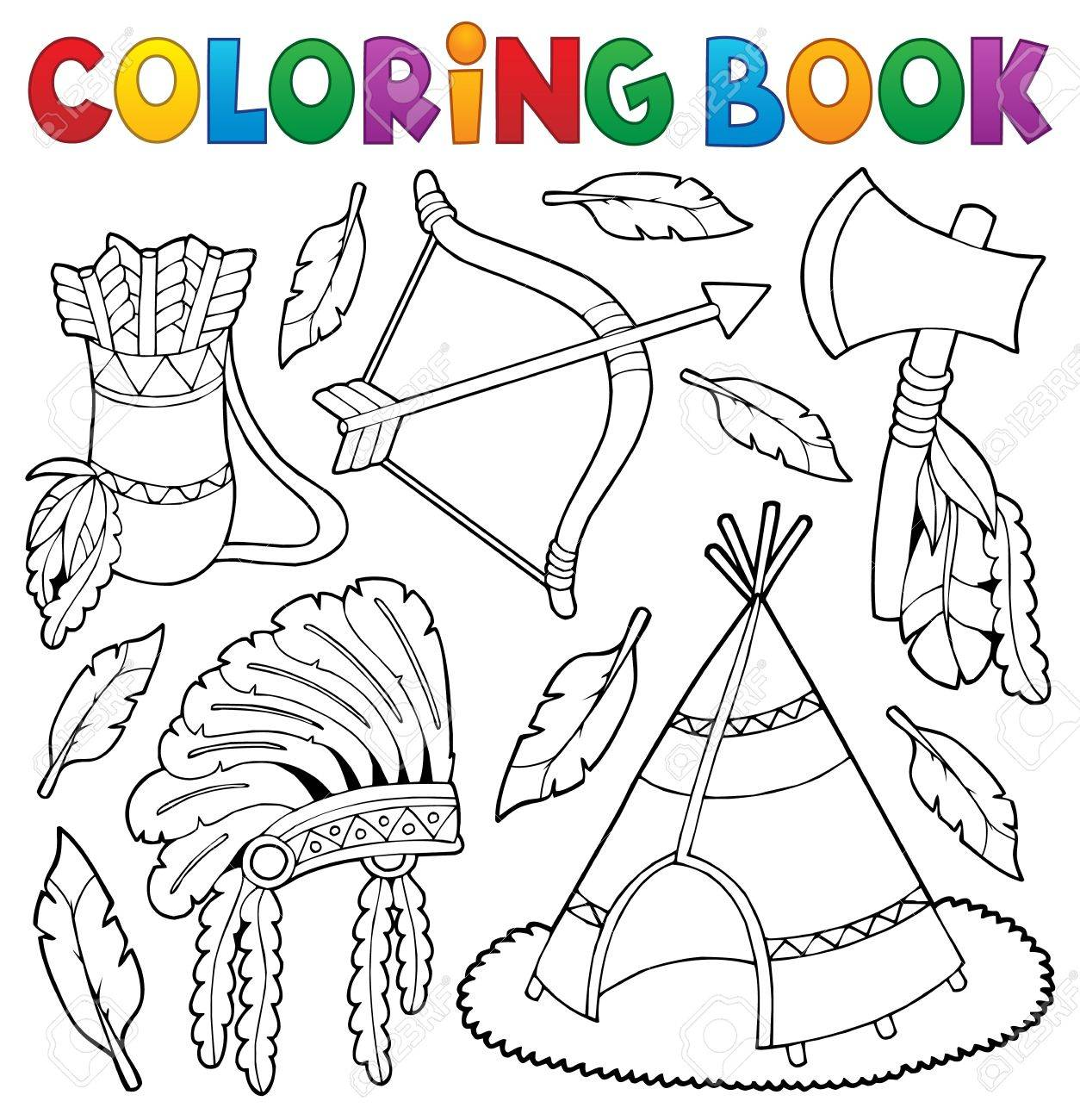 coloring book native american theme 1 eps10 vector illustration stock vector 81993175 - Native American Coloring Book