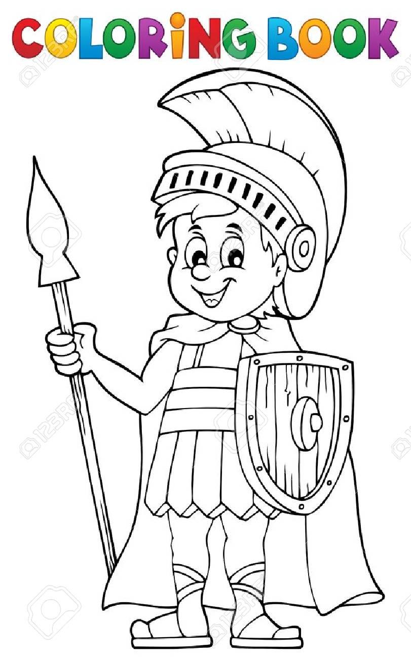 Libro Para Colorear Soldado Romano - Eps10 Ilustración Vectorial ...