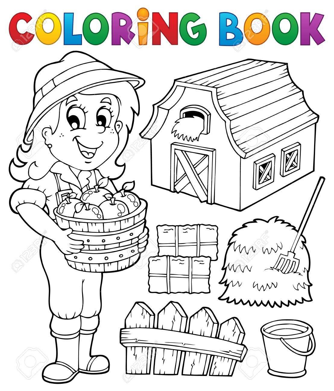Dibujo Para Colorear Chica Y Granja Objetos Eps10 Ilustración