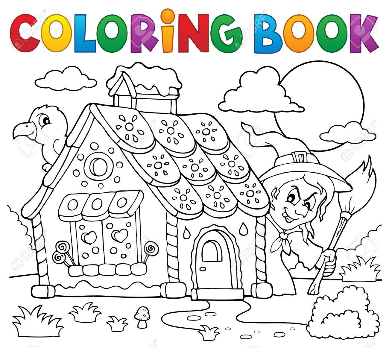 Dibujo Para Colorear Casa De Pan De Jengibre Tema 2 Eps10 Ilustración Vectorial