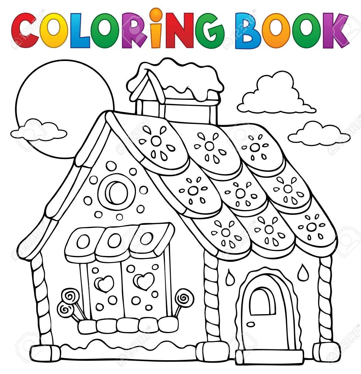- Coloring Book Gingerbread House Theme 1 - Eps10 Vector