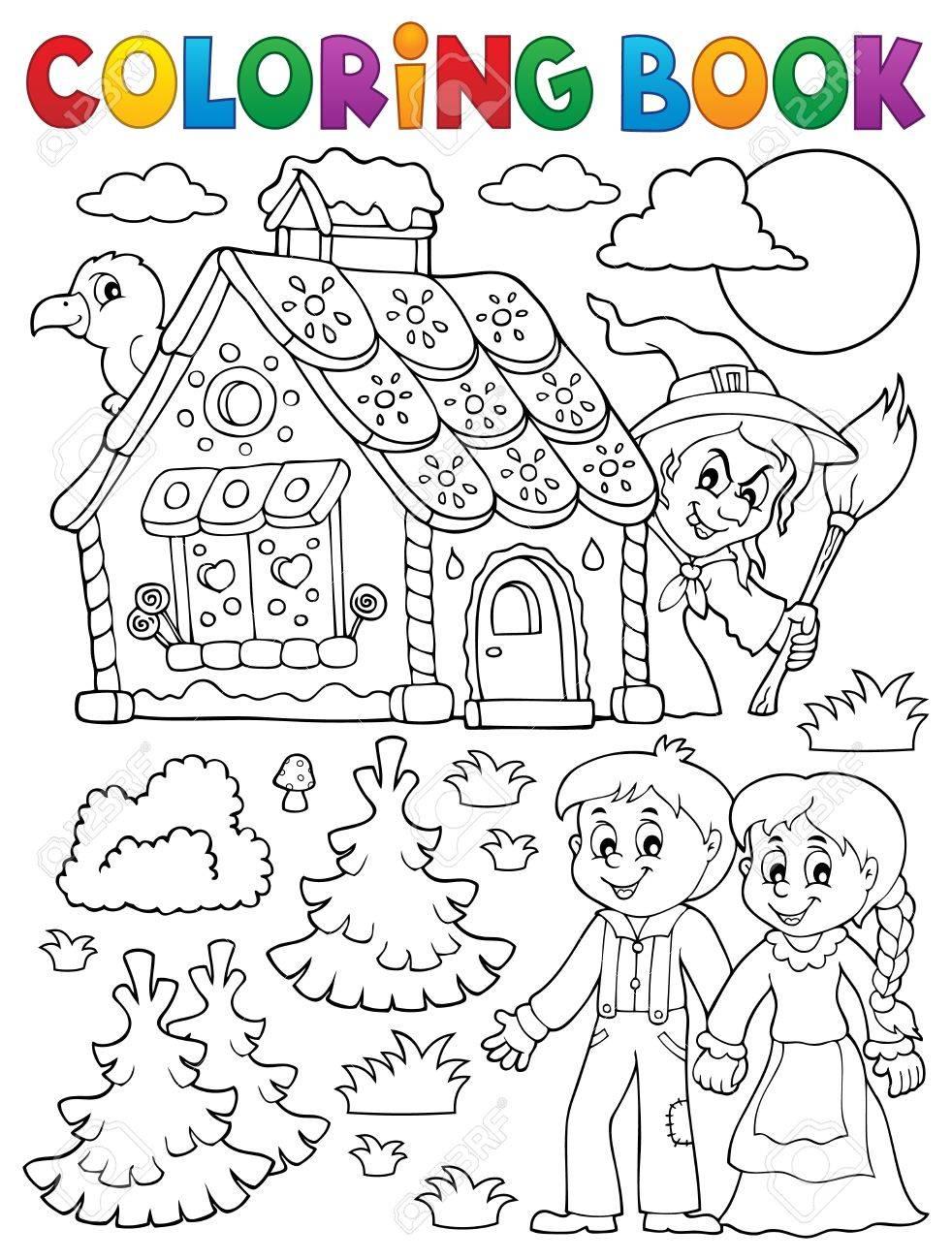 Dibujo Para Colorear Hansel Y Gretel 1 - Eps10 Ilustración Vectorial ...