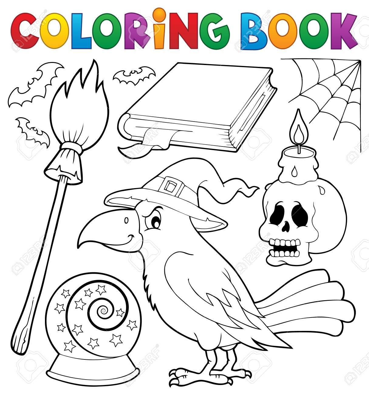 Tema Del Cuervo De Bruja Del Libro De Colorear - Ilustración Del ...