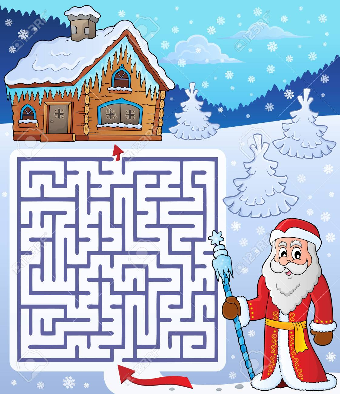 father frost theme santa claus design maze activity for kids stock vector 88710140 - Santa Claus For Kids