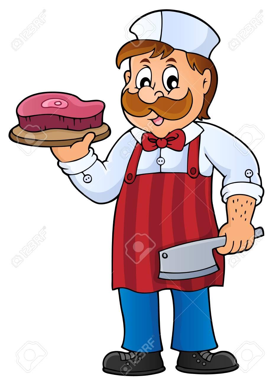 Dessin Boucher thème de boucherie; homme tenant la viande et le couteau de boucher