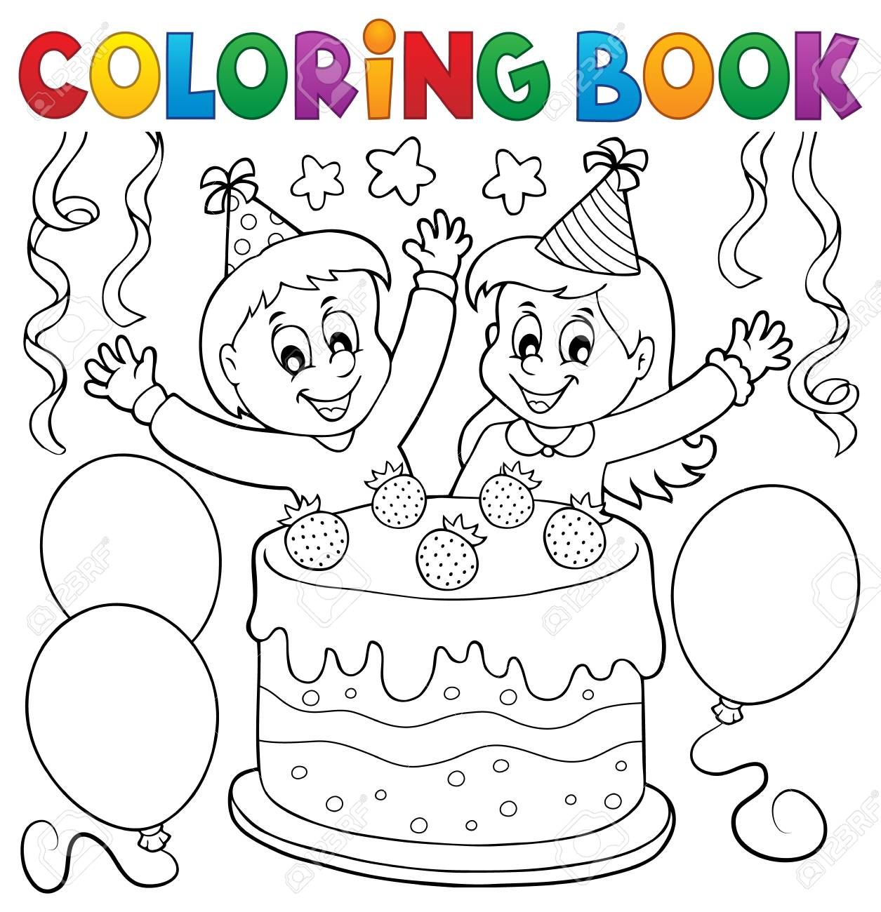 Coloring Book Cake And Kids Celebrating - Eps10 Vector Illustration ...