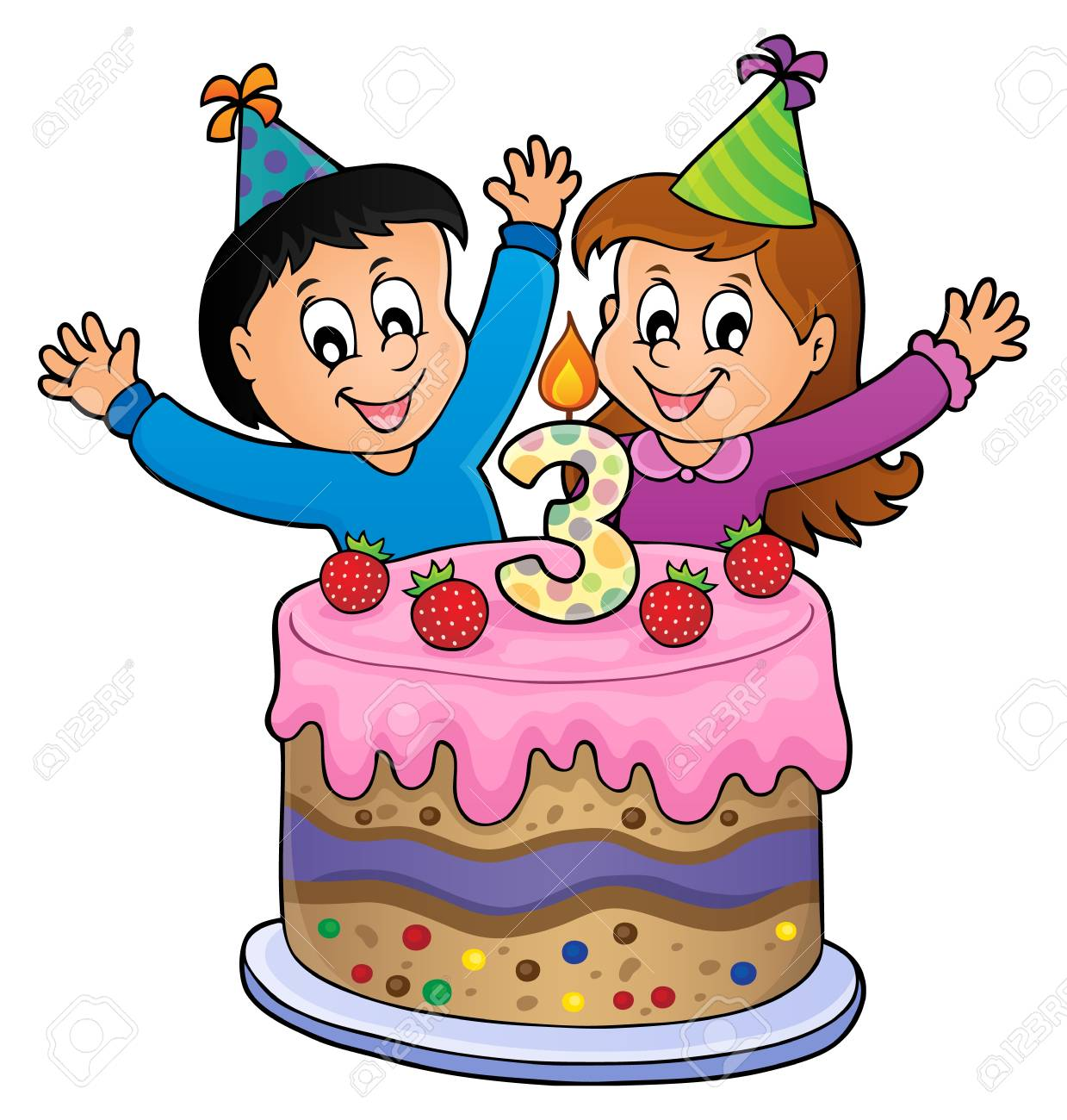 Marvelous Two Kids Waving Hands In Front Of A Cake Happy Birthday Image Funny Birthday Cards Online Overcheapnameinfo