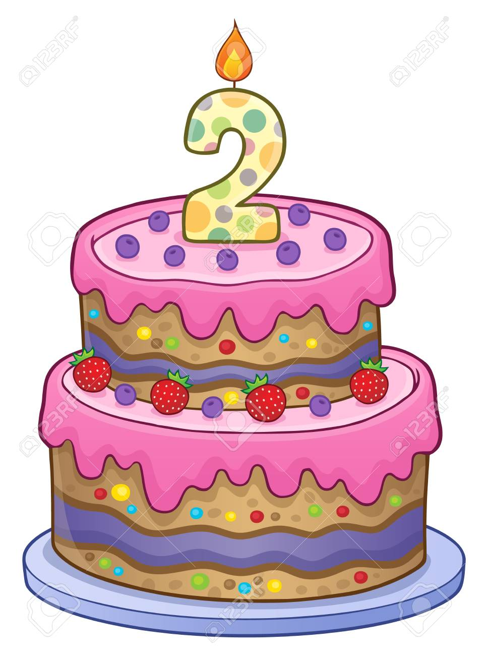 Two Layered Birthday Cake For 2 Years Old Royalty Free Cliparts